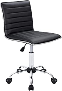 Furmax Mid Back Task Chair,Low Back Leather Swivel Office Chair,Computer Desk Chair Retro with Armless Ribbed (Black)
