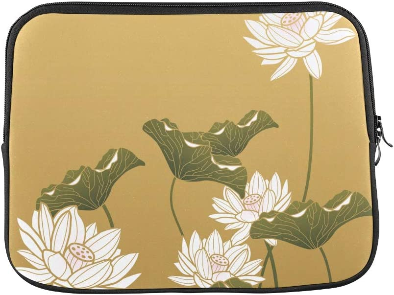 Unique Custom Chinese Painting Lotus Flower Green Leaf Print Laptop Folio Case Soft Laptop Briefcases for Men Briefcase Protective for MacBook Air 11