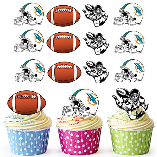 AKGifts American Football NFL Cupcake Toppers / Cake Decorations (Pack of 12) MIAMI DOLPHINS - Dolphin Cupcake Decorations