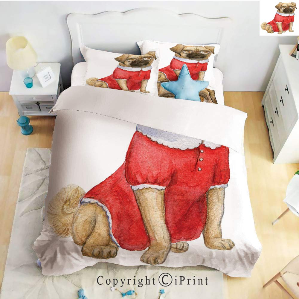 Homenon Bedding 4 Piece Sheet,Cute Dog in Red Dress Animal Cartoon Style Design Funny Pet Picture Print,Pale Brown Red Brown,Full Size,Suitable for Families,Hotels