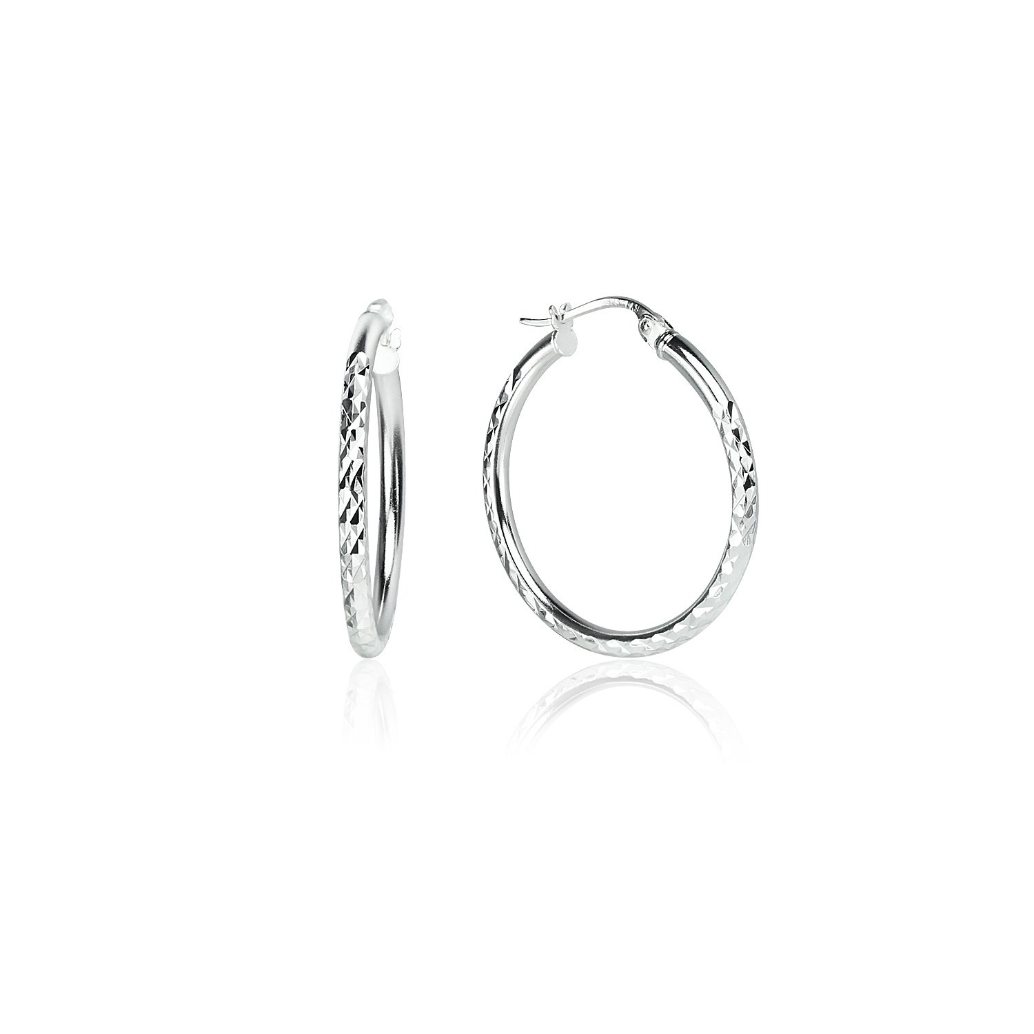 LOVVE Sterling Silver High Polished Round Diamond Textured Click-Top Hoop Earrings, 2x25mm