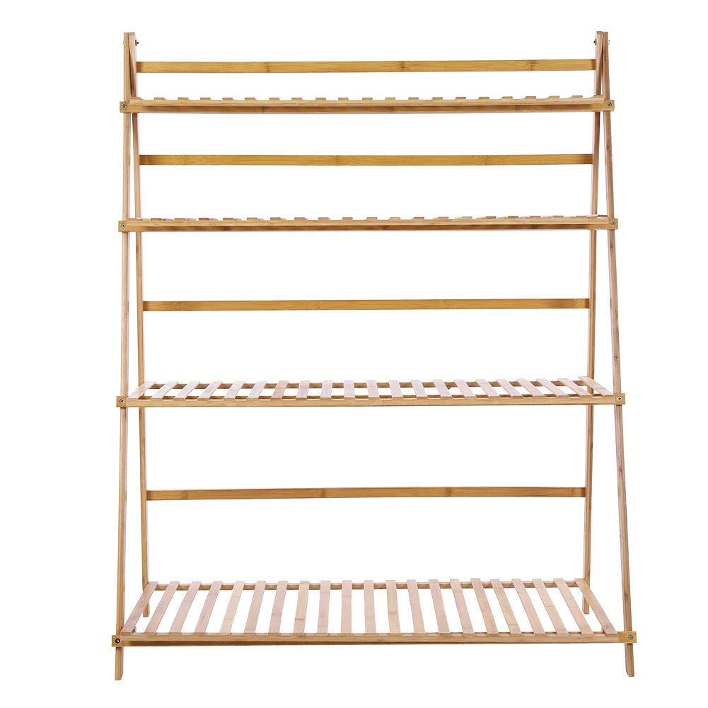 Brown Jeffergrill 4 Tiers 3.3ft Width Bamboo Made Foldable Thickened Plant Standing Rack for Solid Support Alpine(Brown)