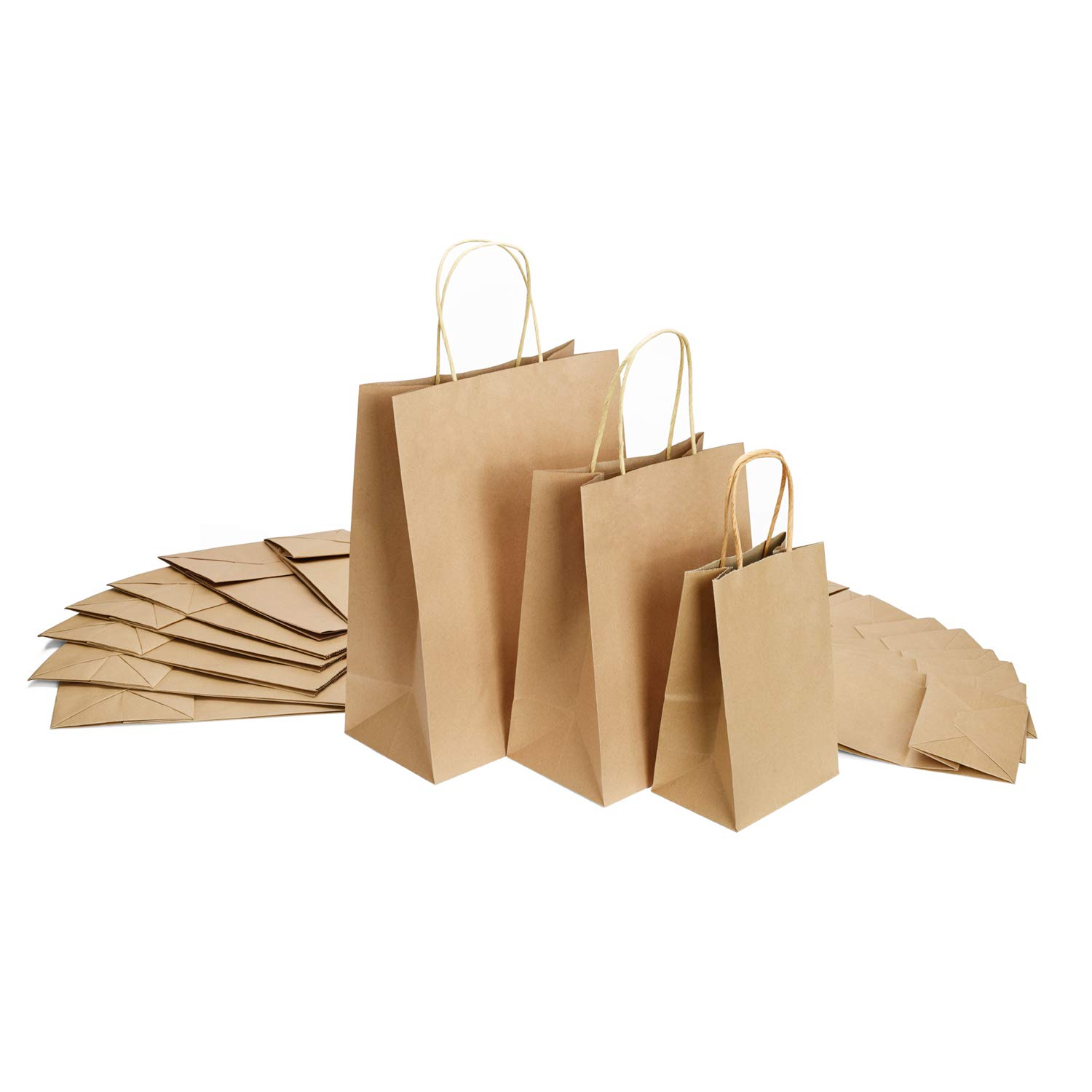 GSSUSA 5x3x8&8x4.75x10&10x5x13-50Pcs Each Size - Halulu Brown Kraft Paper Bags, Shopping, Mechandise, Party, Gift Bags - Total 150Pcs