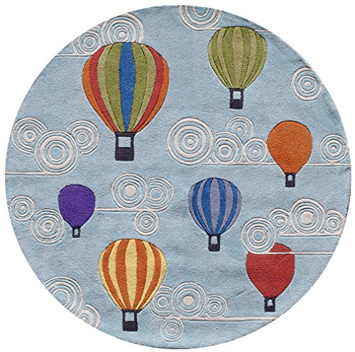 (Momeni Rugs LMOJULMJ20MTI500R Lil' Mo Whimsy Collection, Kids Themed Hand Carved & Tufted Area Rug, 5' Round, Multicolor Hot Air Balloons on Sky Blue)