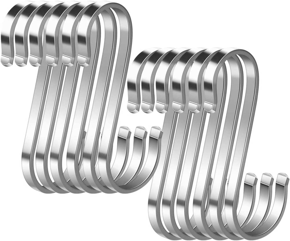 12 Paquete Ganchos en Forma de S,S Ganchos Cocina Metal Acero Inoxidable ganchos para el gabinete de la Cocina Oficina del Dormitorio del ba/ño