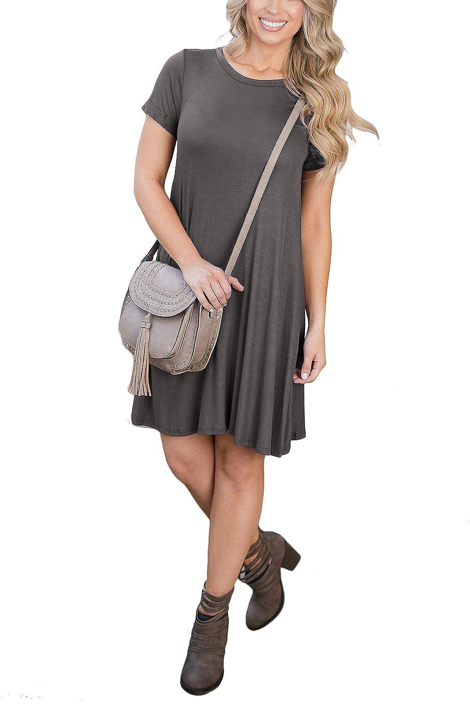 Wiwiqs Womens Casual Plain Flowy Simple Loose Cotton T Shirt Dress