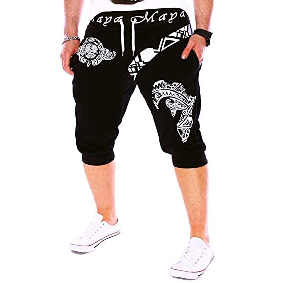 8b8ba68eec SANFASHION Pantaloni Uomo Estate 2019 Nuovi Uomini di Moda Usura  Pantaloncini Stampati da Uomo Casual Jeans da Uomo Pantaloncini Comodi Nero  XX-Large