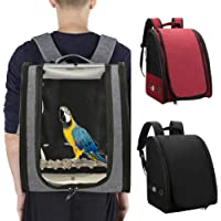 Bird Parrot Backpack Carrier Bird Travel Cage with Perch for Large Medium and Small Birds Crested Myna Travel Hiking…