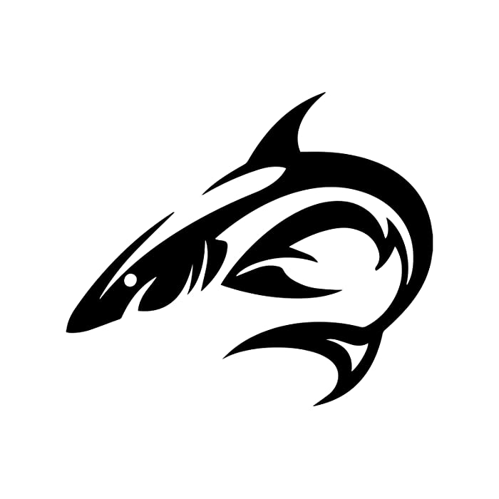 """Bargain Max Decals Tribal Shark Silhouette Decal Notebook Car Laptop 5.5"""" (Black)"""