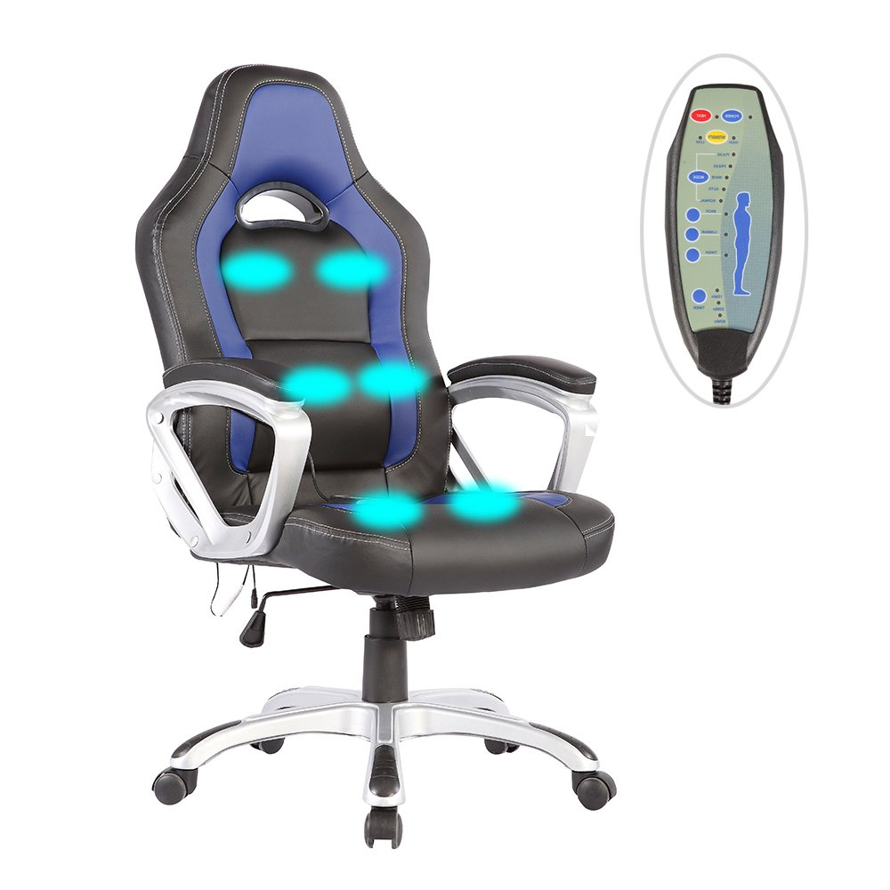 Mecor Massage Office Chair Heated Vibrating PU Race Car Style (Black&Blue)