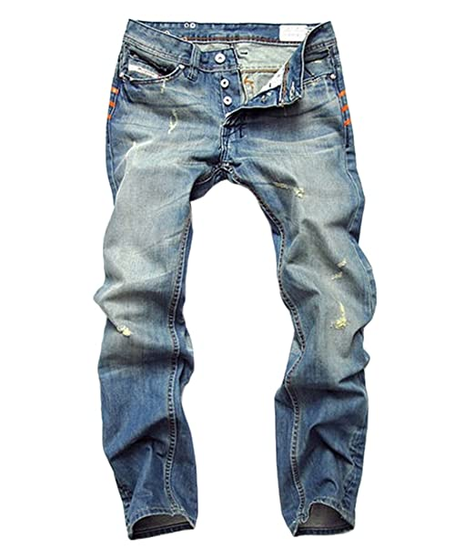 Amazon.com: Acefast INC Hombres Ripped recto Jeans Retro ...