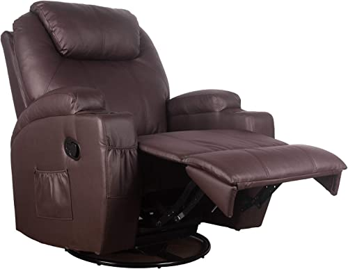 Polar Aurora Massage Recliner Chair Heated PU Leather Rocker Recliner Ergonomic Lounge Vibratory Massage function/360 Degree Swivel/Cup Holders/Heating/Remote Control