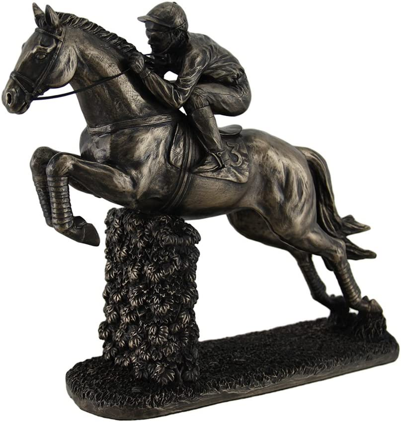 Steeplechase Horse and Rider Action Cold Cast Bronze Figurine
