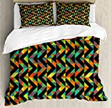 Chevron Duvet Cover Set King Size by Lunarable, Ornamental Geometric Design with Black and Colorful Stripes Zigzag Pattern Modern, Decorative 3 Piece Bedding Set with 2 Pillow Shams, Multicolor