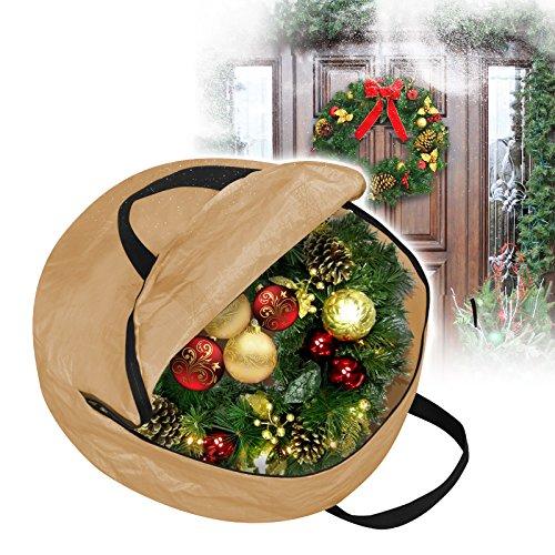 BenefitUSA Christmas Wreath Storage Bag with Handles (Tan, 24Inch) by BenefitUSA