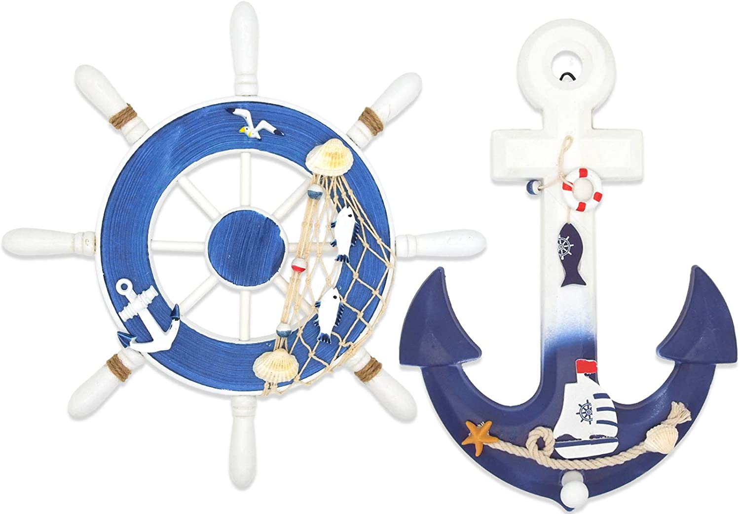 """ESTART 2 Pack 13"""" Nautical Decor Beach Wooden Ship Steering Wheel and Wood Anchor with Fishing Net Rope, Nautical Boat rudder Wall Decoration Door Hanging Ornament, Beach Theme Decor for Home (13""""-2)"""