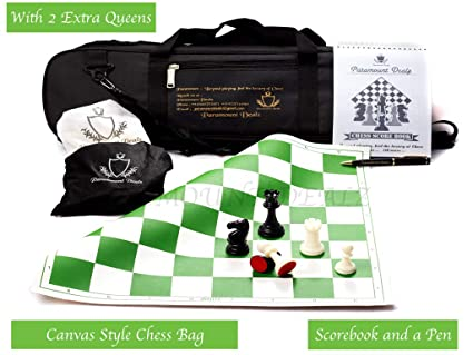 Paramount Dealz Professional Plastic Vinyl Chess Set with 2 Extra Queens and Bag (Green with Black Bag, 17x 17-Inch)