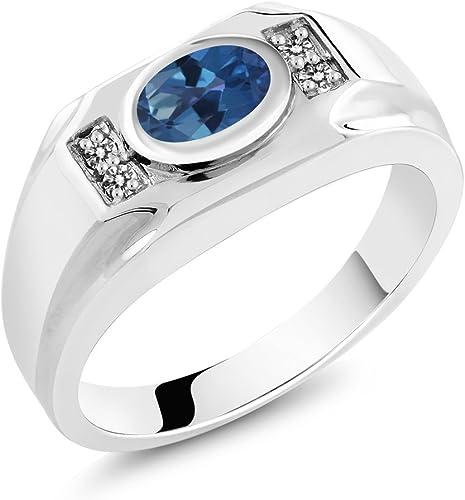 Gem Stone King 2.03 Ct Blue Mystic Topaz White Diamond 18K Rose Gold Plated Silver Mens Ring