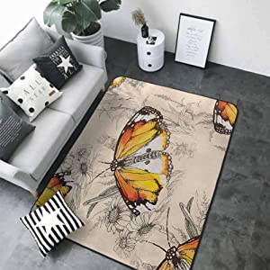 """Large Floor Mats for Living Room Colorful Butterfly,Sign of Supreme Grace and Meditative Journey Real Self Creature Theme,Orange Black Cream 80""""x 96"""" Area Rugs"""