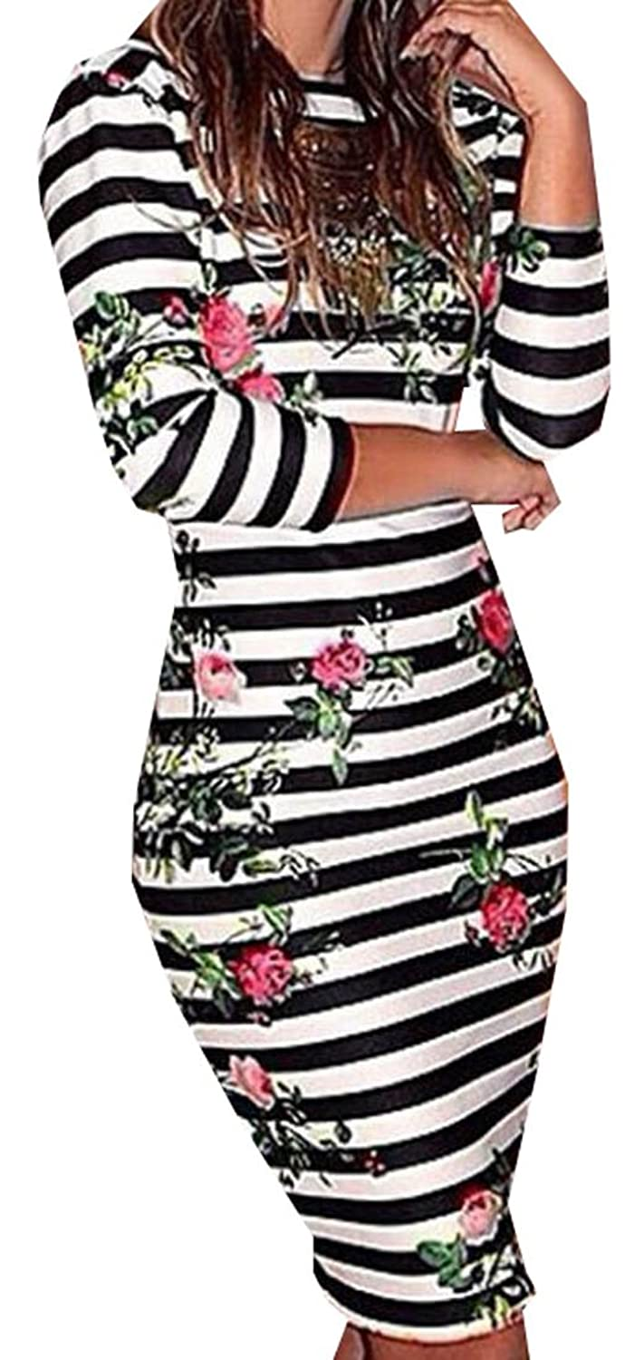 MLG Women's Backless Knee Length Cross Stripe Clubwear Dress