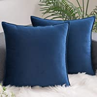 AHAHA - Juego de 2 fundas de cojín de terciopelo, decorativas, con cremallera oculta, 50 x 50 cm, color azul oscuro