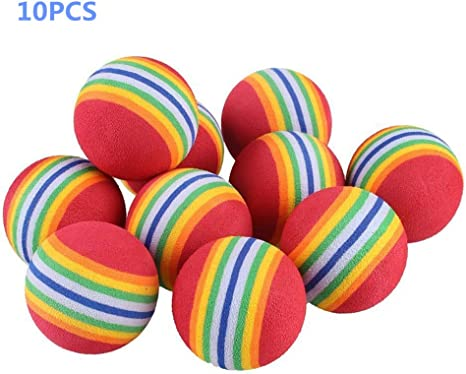 Desconocido Pet Cat Dog Toy Colorful Rainbow Soft Pelota de Espuma ...