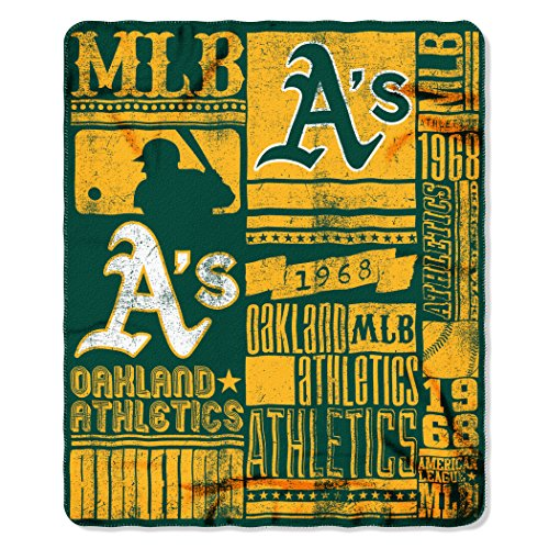 (MLB Oakland Athletics Strength Printed Fleece Throw, 50-inch by 60-inch)