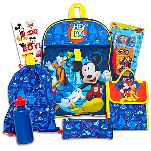 Disney Mickey Mouse 10 Pc Backpack Set -- Deluxe Backpack, Lunch Bag, Water Bottle, Stickers and More (School Supplies Set)