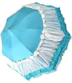 Honeystore Pagoda Parasol 3 Folding Lace Totes Sun Rain Wedding Ruffle Umbrella