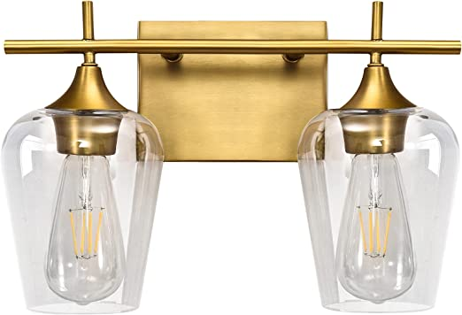 Vanity Lights Fixtures, Zicbol 2 Light Bathroom Light, Brass Gold Bathroom Lighting Fixtures Over Mirror with Clear Glass Shade, Modern Vanity Lighting for Bath, Living Room, Bedroom