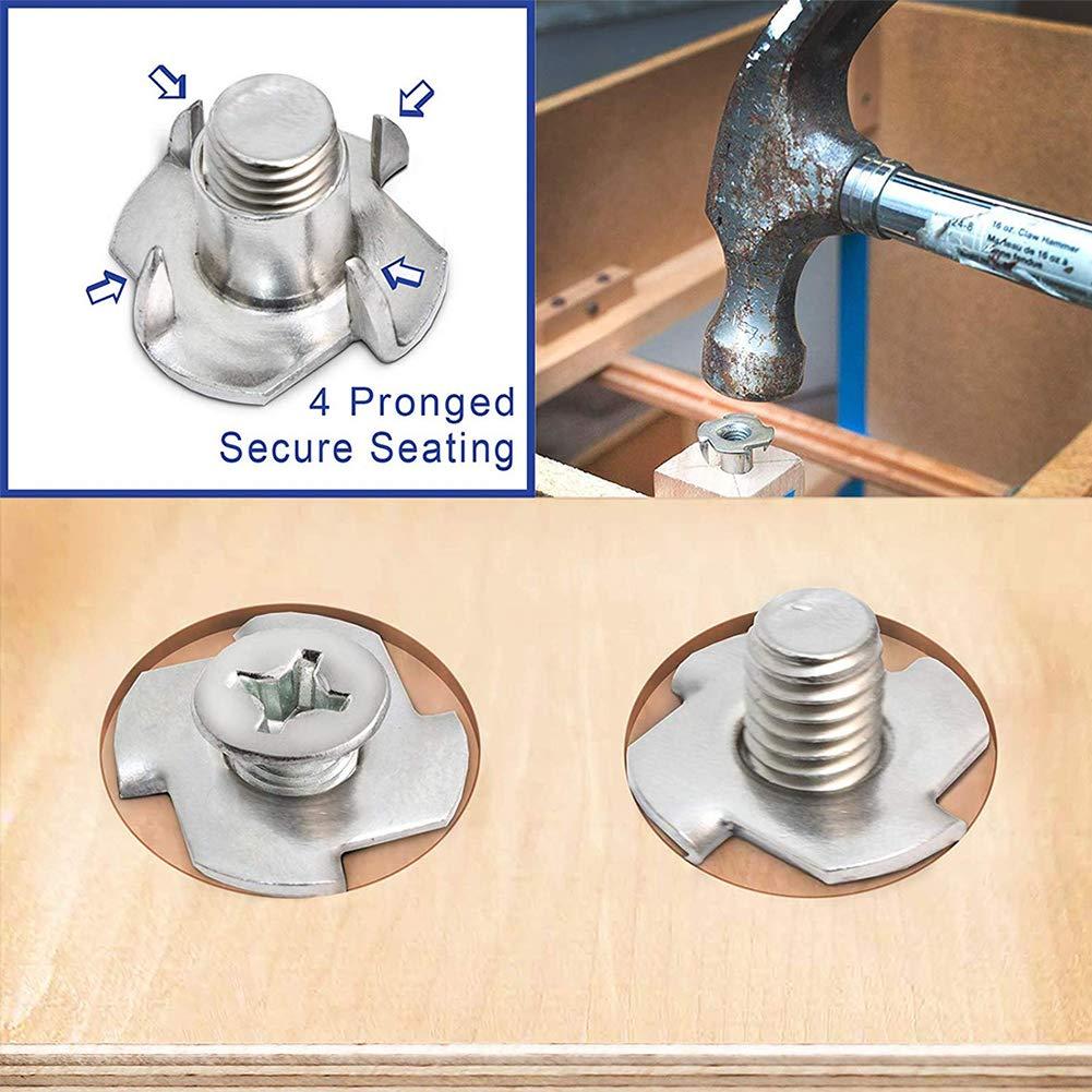 AMZANDY NEW Vier-Prong N/üsse Einschlagmuttern mit 4 Einschlagspitzen120 St/ücke M 6 x 9 mm,f/ür Holz M/öbel Klettergriffe