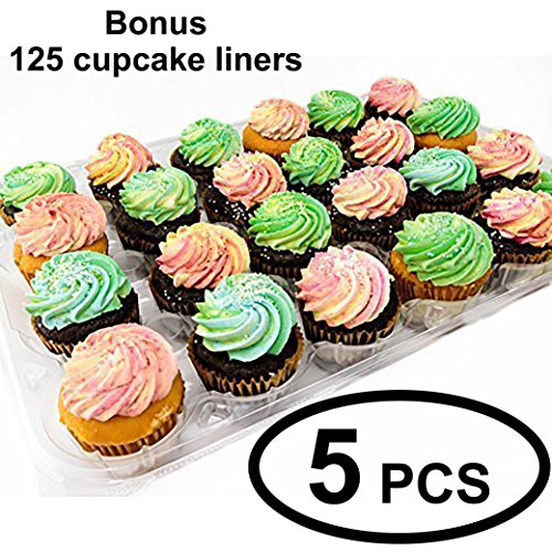 Katgely Disposable Cupcake Box Container - Holds 24 Cupcakes - Deep Dome for Tall Frosting Decoration - 5-Pack with Bonus 125 Cupcake Liners - Plastic - PBA Free