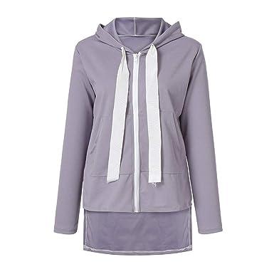 003e23d9528 Manteau Femme Haut à Capuche en Flanelle De Poche pour Femmes Mme Peluche  avec Top Pull Sweat-Shirt Sweat Manteau Hiver Chaud Laine Zipper Poches  Coton ...