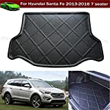 1pcs Black Color Car Boot Pad Carpet Trunk Cargo Liner Floor Mat Molded Cargo Tray Custom fit For Hyundai Santa Fe 7 Passenger 2012 2013 2014 2015 2016