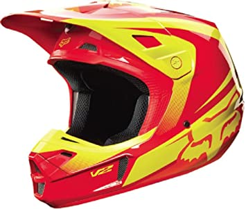 Fox Racing Imperial V2 - Casco de motocross para hombre, color rojo y amarillo