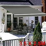 Greenbay Grey DIY Manual Patio Awning, Retractable Gazebo Outdoor Canopy, Garden Sun Shade - 3.5m x 2.5m