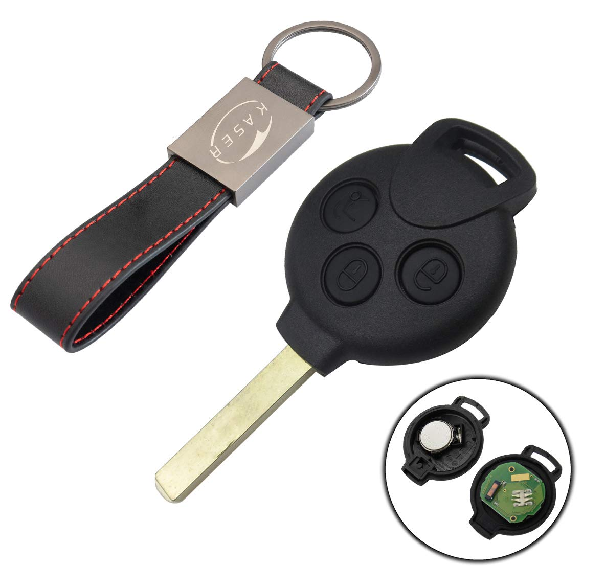 3 Botones para 450 FORTWO FORFOUR Roadster 433MHz Transponder Mando a Distancia Coche con Llavero KASER Llave para Smart con Tarjeta Electr/ónica