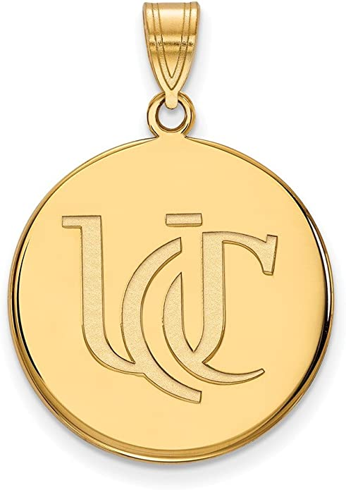 25mm x 18mm 925 Sterling Silver Yellow Gold-Plated Official University of Cincinnati Large Pendant Charm
