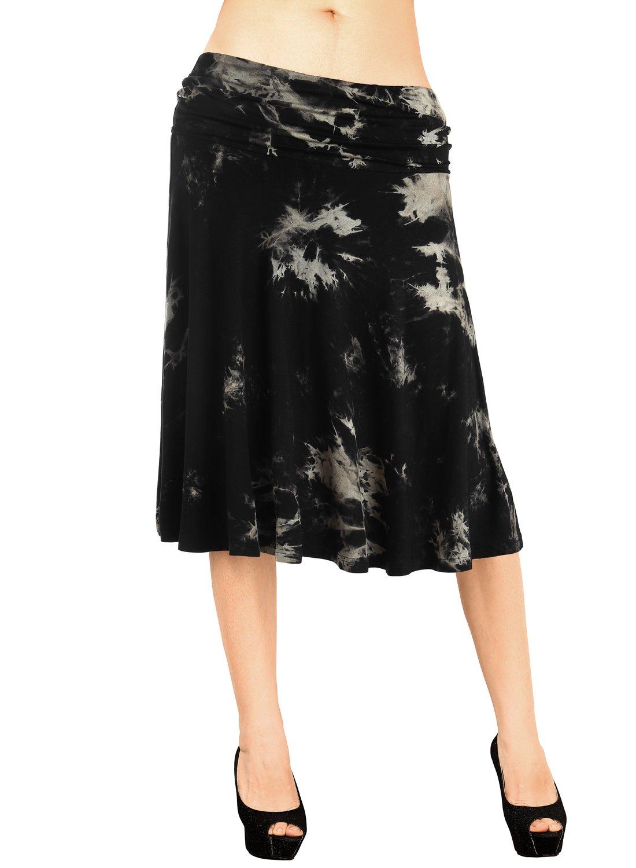 DJT FASHION Tie Dye Skirt for Women,Summer Comfortable Soft Elastic Waist Knee Length Loose Swing Skirt M Black Tie-Dye