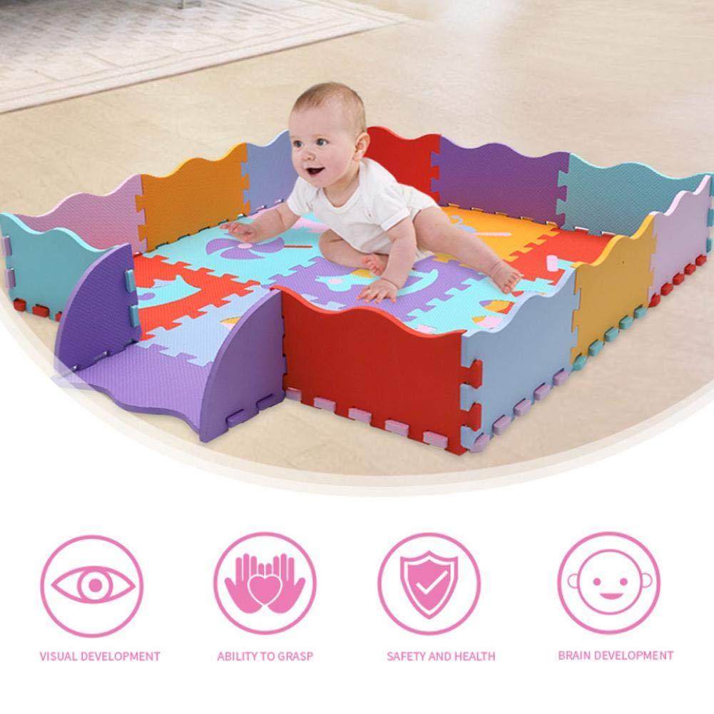 Parque De Atracciones 9 Piezas 30 30 Cm Losas De Espuma con Valla 14 Piezas Alfombra Puzzle Infantiles Puzzle Foam Play Mat Tapete De Juego Alfombra Suave para Beb/é Ni/ños