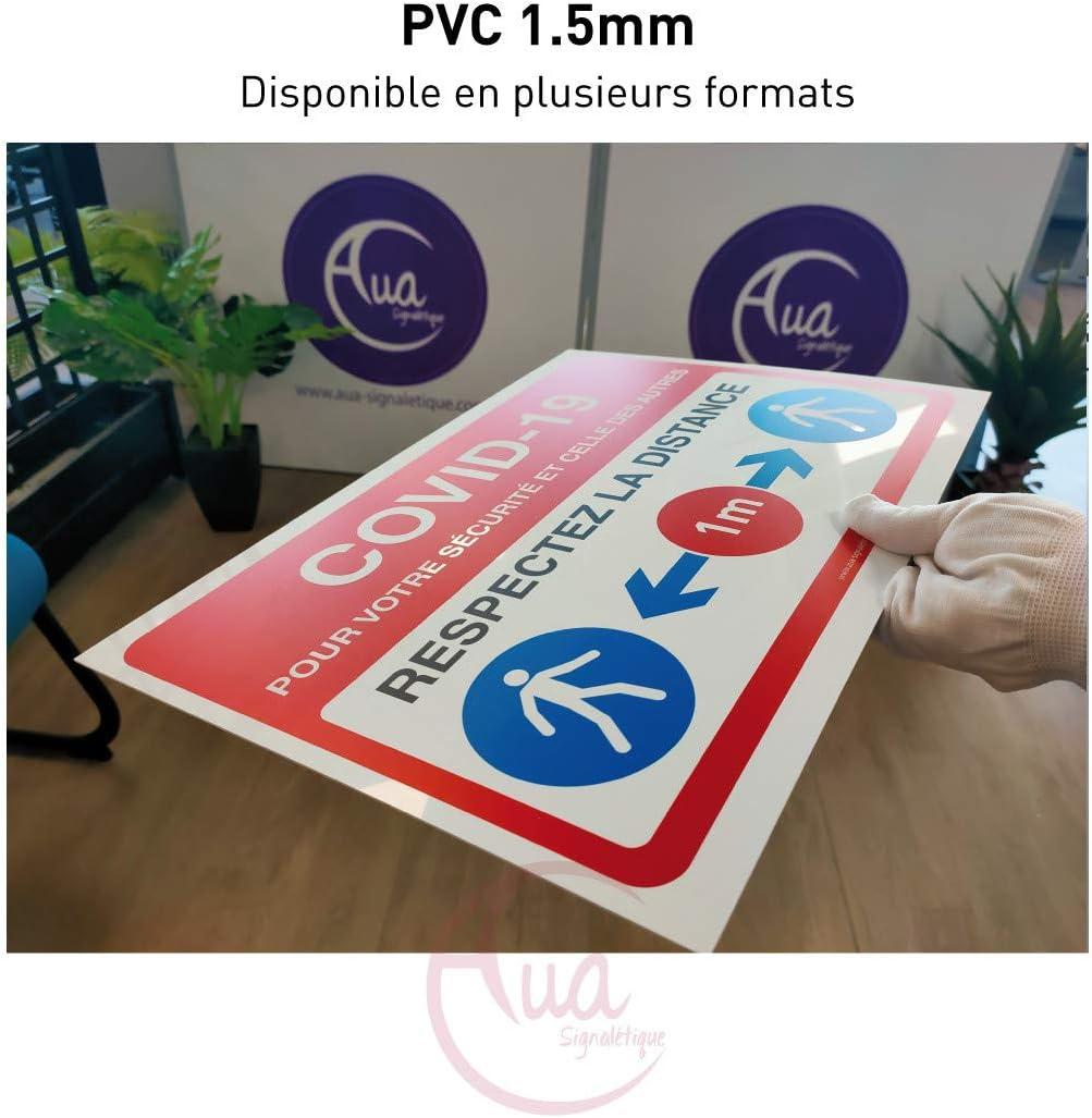 AUA SIGNALETIQUE 600x420 mm Panneau de Signalisation COVID-19 respectez la Distance 1 m avec Pictogramme ISO 7010 Bleu Aluminium Dibond 3mm
