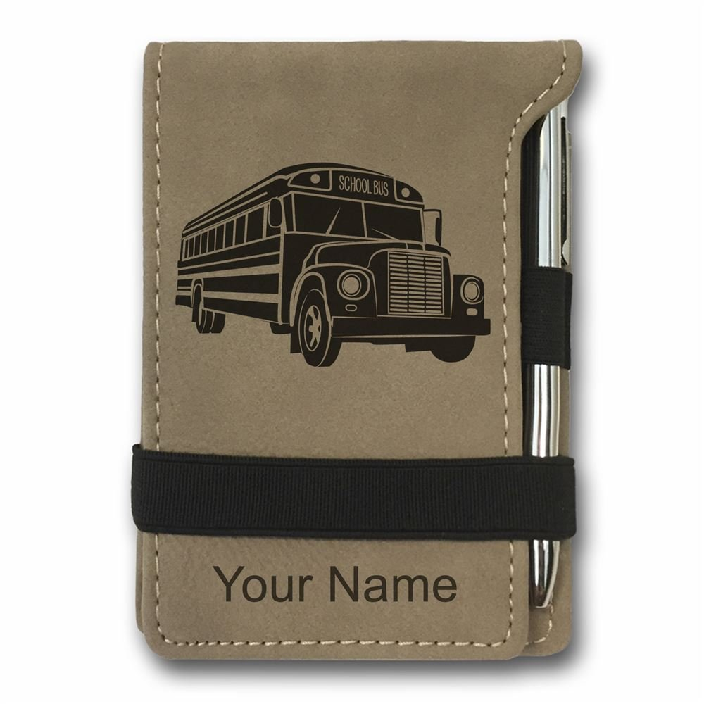 Mini Notepad, School Bus, Personalized Engraving Included (Light Brown)