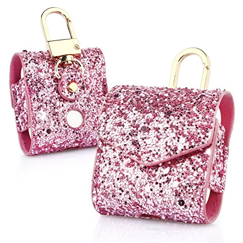 KuToo AirPods Case, Magnetic Closure Leather Cover with Anti-lost Keychain Glitter Bling Sparkle Leather Sleeve Skins Case for Apple AirPods Wireless Earphone (3D Glitter (Skin Bling)