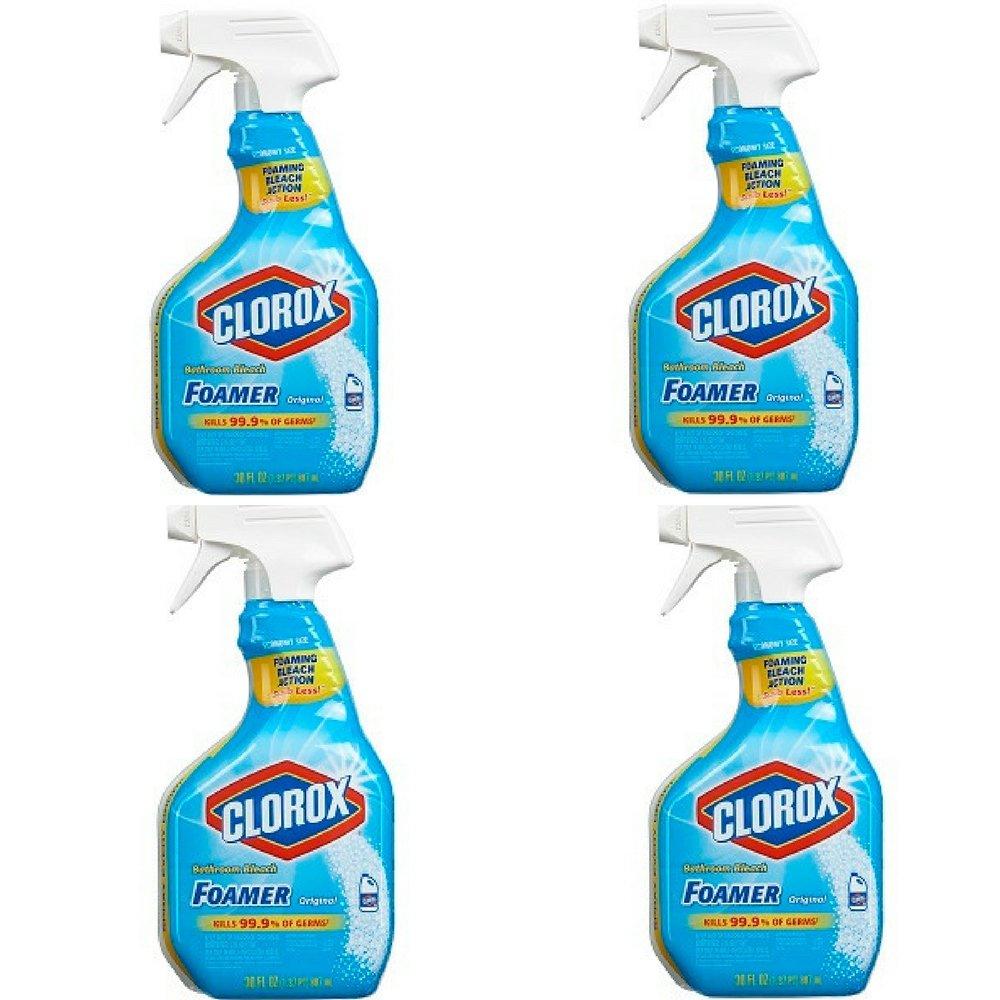 Clorox Bathroom Foamer with Bleach, Spray Bottle, Original, 30 Ounces (Pack of 4) by Clorox