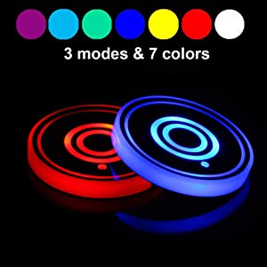 Lipctine LED Car Cup Holder Lights Mats Pad Colorful Lamps RGB Drink Coaster Accessories Interior Decoration Atmosphere Lamps Fit for Car Truck SUV Vehicle