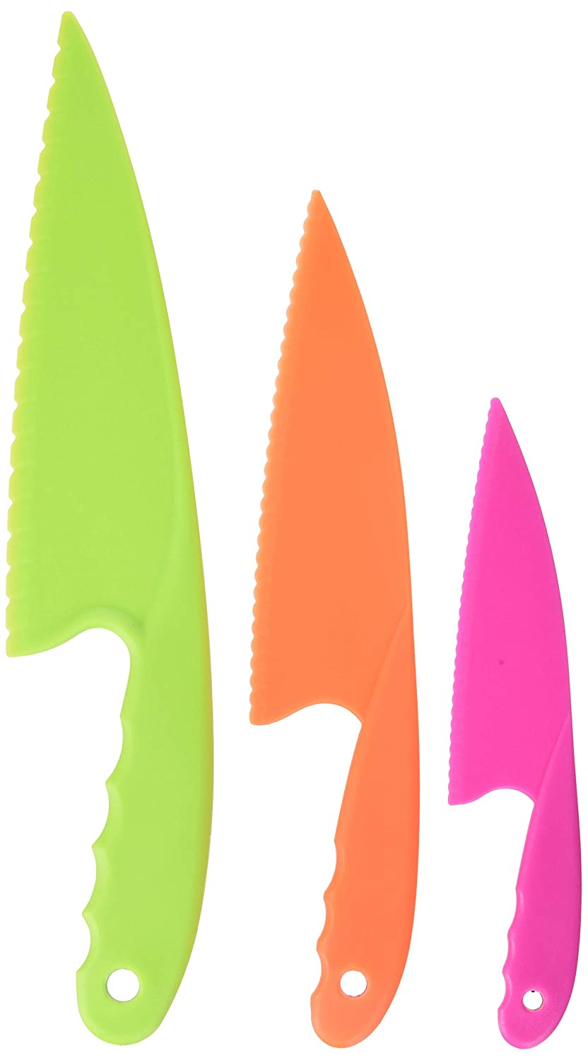 Plastic Kitchen Knife Set 3 Pieces and 3 colors for Kids, Safe Nylon Cooking Knives for Children, for Lettuce or Salads by GarMills