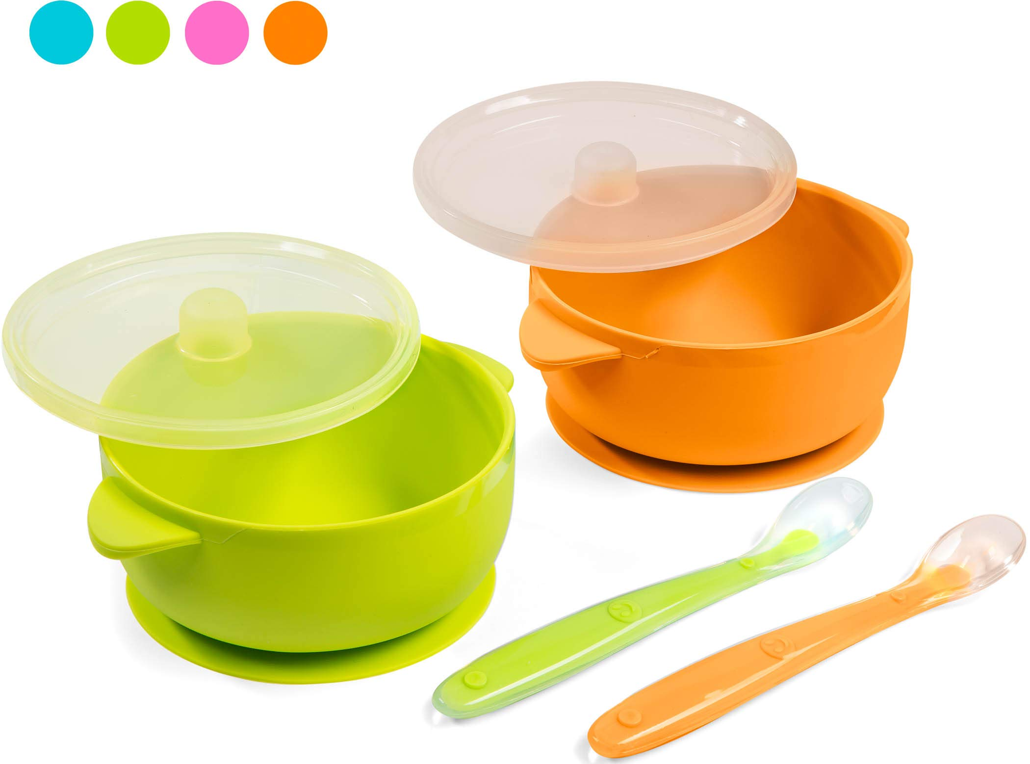 Best Baby Suction Silicone Bowl Set Includes Soft Silicone Spoon + Lid BPA Frwe (Green & Orange Bowl) by Sperric