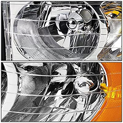 AUTOSAVER88 Headlight Assembly Compatible with 2002-2005 Dodge Ram Pickup Truck OE Style Replacement Headlamps Chrome Housing with Amber Reflector Clear Lens (Passenger and Driver side): Automotive