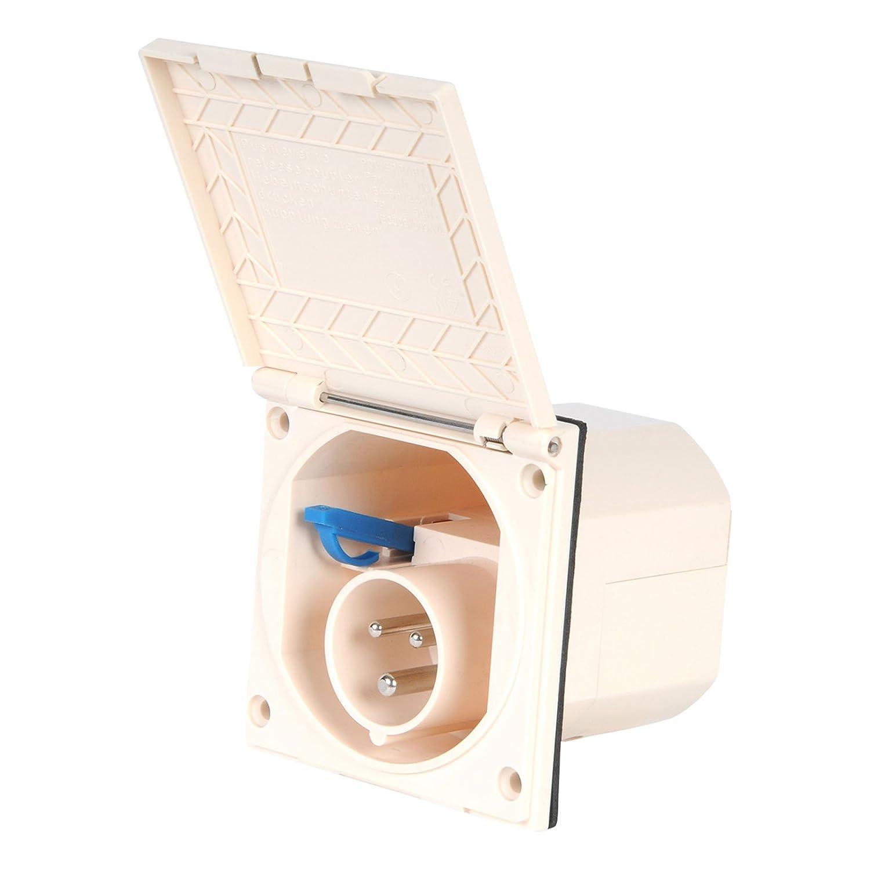 CEE Aussensteckdose beige Spritzwasser geschü tzt IP 44 200-240V, 16A, 3 polig fü r Wohnwagen, Wohnmobil oder Boot Powerpart