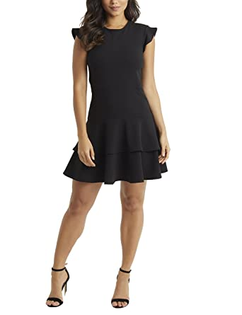 Lipsy Womens Tiered Ruffle Fit and Flare Dress - Black -